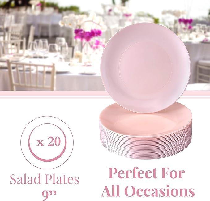 VAJILLA DE PLATOS DESECHABLES | Platos de plástico reutilizables premium | 20 platos de ensalada | Opulence rosado | 9 pulgadas/22 cm: Amazon.es: Hogar