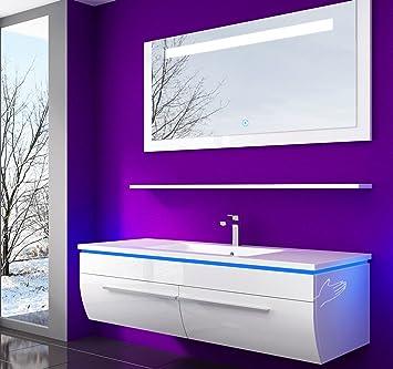 Badezimmermöbel doppelwaschbecken  Weiss 120 cm Badmöbel Set Waschbecken Spiegel 70 cm und Ablage ...