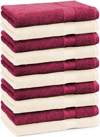 Betz Set di 10 Lavette Premium Misura 30 x 30 cm 100/% Cotone Colore Rosa Antico e Beige