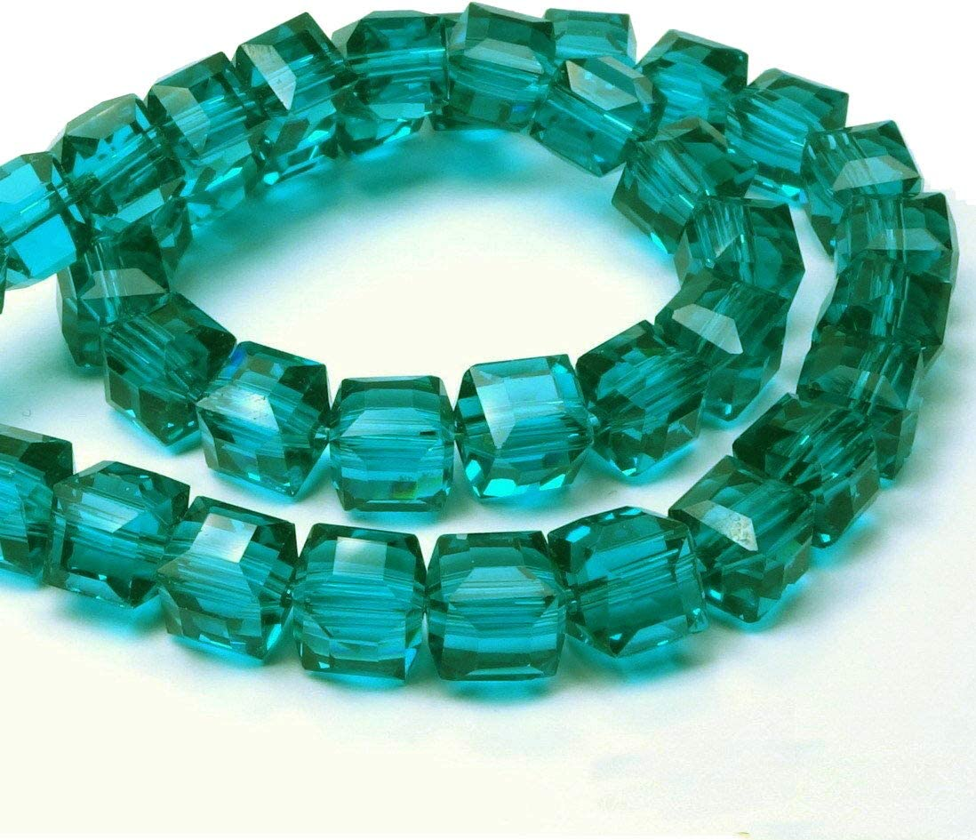 Perlas de cristal bohemias, 4 mm y 6 mm, juego de cubos facetados, perlas checas de cristal tallado entre perlas, perlas de cristal impresas, cristal, Circonita verde., 4x4x4 mm 25 Stück
