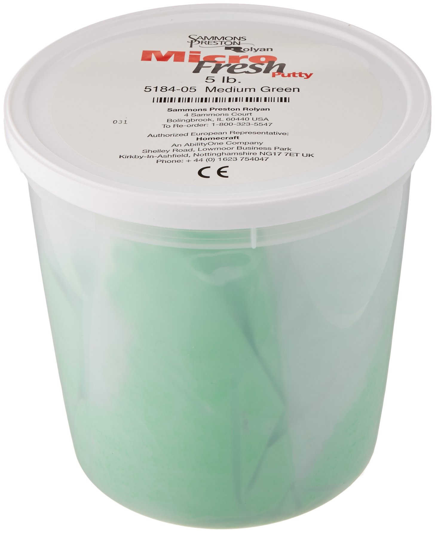 Sammons Preston Micro-Fresh Putty, Antibacterial, Antifungal, and Antimicrobial Therapy Putty for Hands and Feet Exercises, Color Coded Non-Toxic Clay, Medium, Green, 5 Pounds