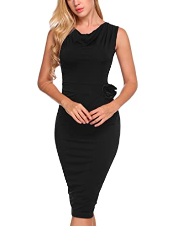 fe6e869040bf Burlady Women's Cowl Neck Sleeveless Solid Bodycon Bow Cocktail Party  Evening Dress Work Pencil Dress with