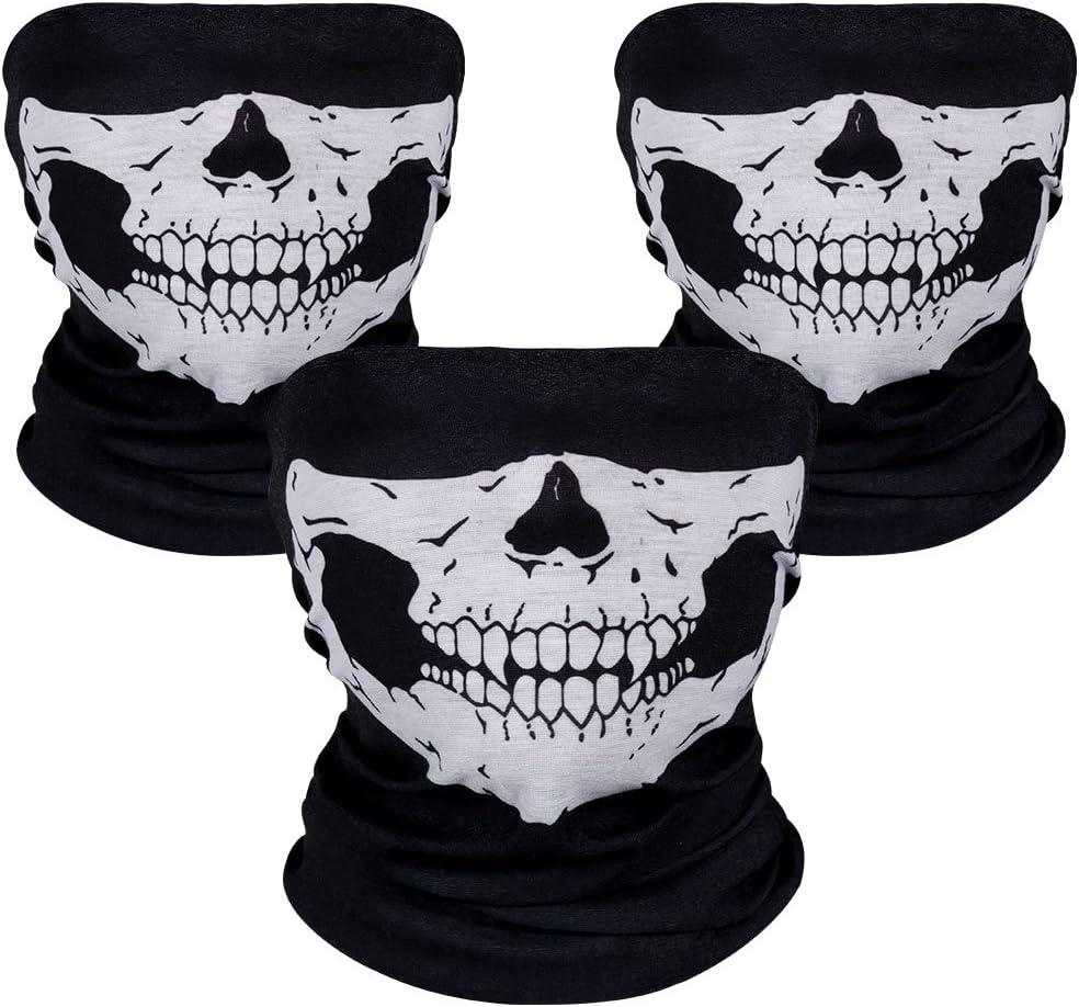 Rovtop 3 pzas Pasamontañas de Calavera Braga de Cuello Casco Moto Mascara Moto Negros para Invierno Respirable Máscara de Tubo Máscara Facial de la Motocicleta