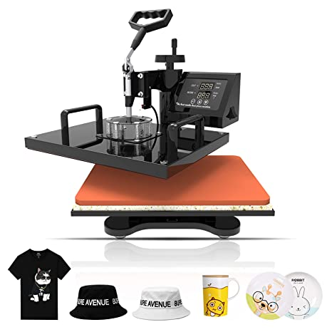 Heat Press Transfer Machine 8 in 1 Hot Pressing Vinyl Power Digital Sublimation Multifunction Combo Kit for T Shirt Mug Hat Cap Ceramic 360 Degree Swing Away 15 x 15
