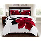8 Pieces Burgundy Red Black White Grey floral Comforter Bed-in-a-bag Set Queen Size Bedding + Sheets