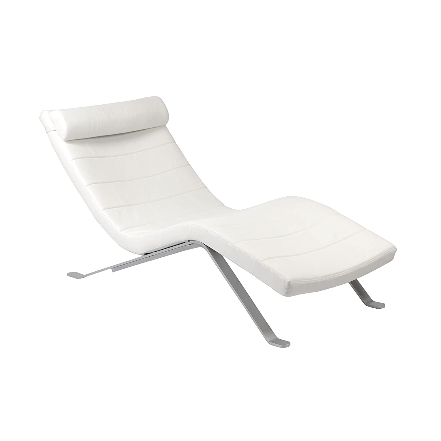 amazon com eura style gilda leatherette chaise lounge chair with