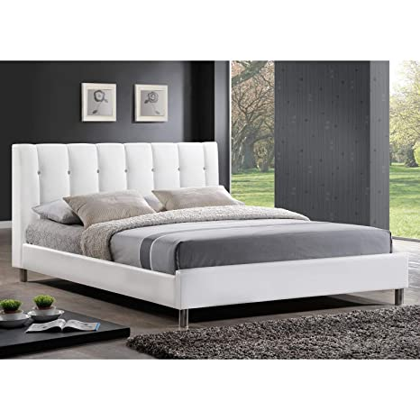 . Baxton Studio Vino Modern Bed with Upholstered Headboard  Queen  White