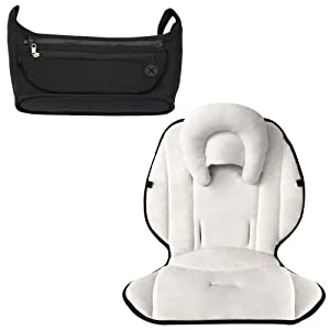 Farnodbaby Infant Baby Stroller Insert Compatible with UPPAbaby Vista Cruz MINU G-Link G-Luxe + Universal Stroller Organizer Set | Affordable Stroller Accessories Set | Bundle: 4 Items (Grey-Black)