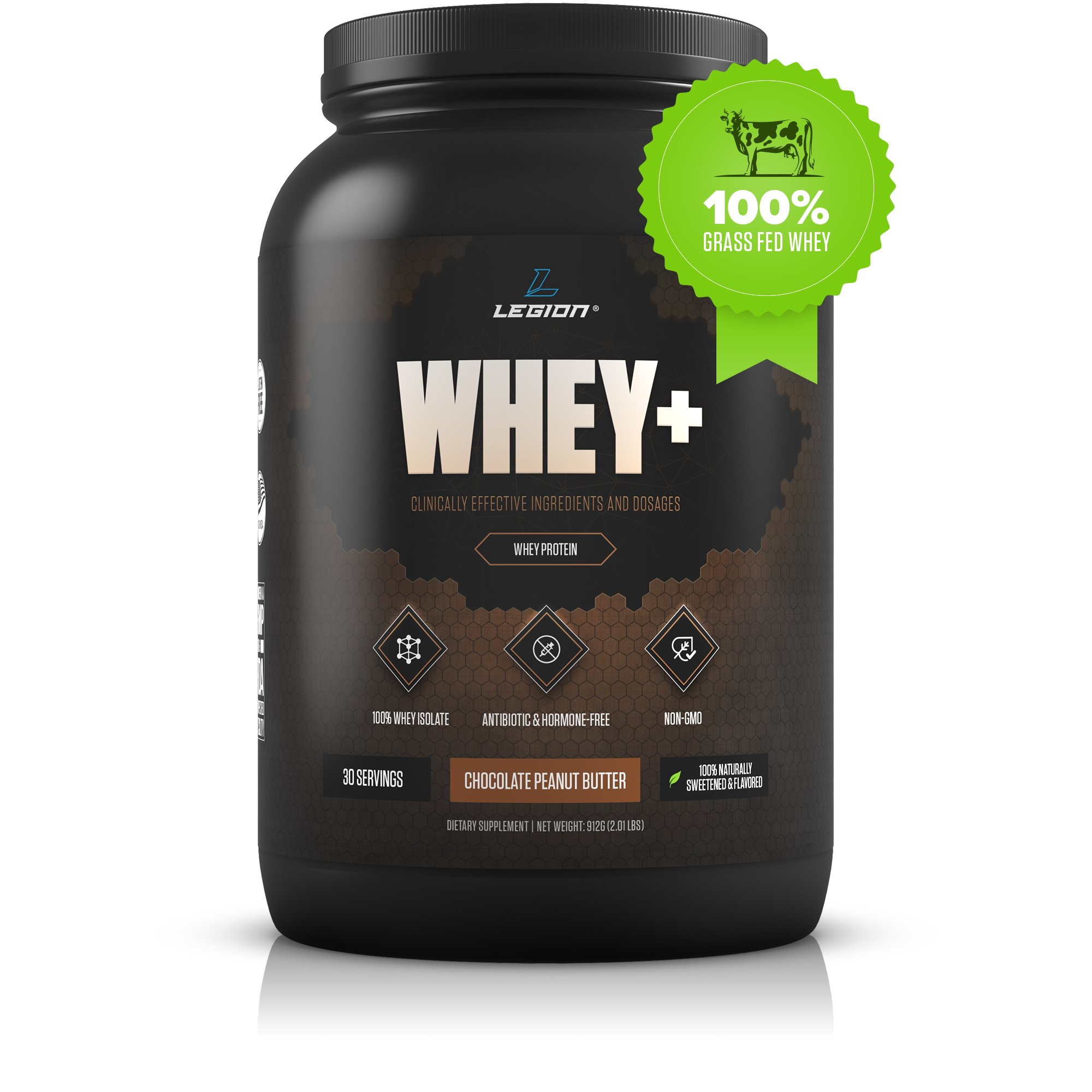 Legion Whey+ Whey Isolate Protein Powder from Grass Fed Cows - Low Carb, Low Calorie, Non-GMO, Lactose Free, Gluten Free, Sugar Free. Great for Weight Loss (Chocolate Peanut Butter, 30 Servings) by LEGION