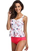 FanShou Women Floral Print Peplum Tankini Top Two Piece High Waist Swimsuit Swimwear