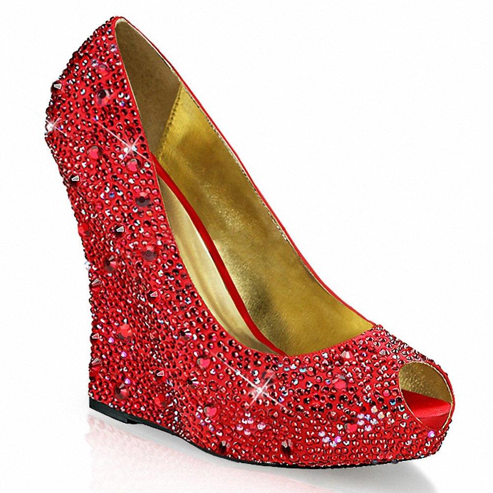 Fabulicious ISABELLE-18 Women 5 1/4 Wedge, 1 1/4 Hidden Platform Peep Toe Pump B074F41BMB 9 B(M) US|Red Satin