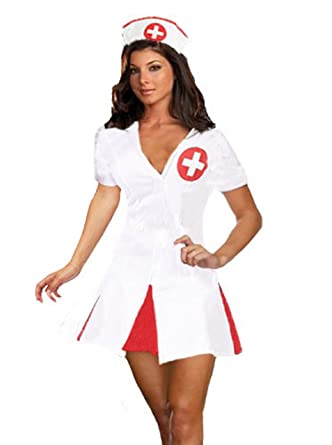 6fc6bc6d53e43 Forever Young Adult Sexy Hen Party Uniform Nurse Fancy Dress Costume (UK 6)  White