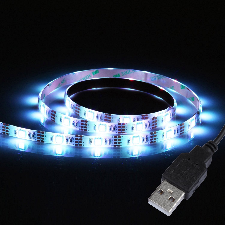 alfa lighting Led strip USB 2.0 LED flexible strip bar light chain Waterproof 30 x 5050 SMDS 1m Energy Class A + led strip 39.3in white