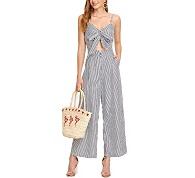 f0e0f7353b4a MASCHERANO Women Cut Out Knot Front Striped Mid Waist Bow Tie Backless  Strap Summer Jumpsuit