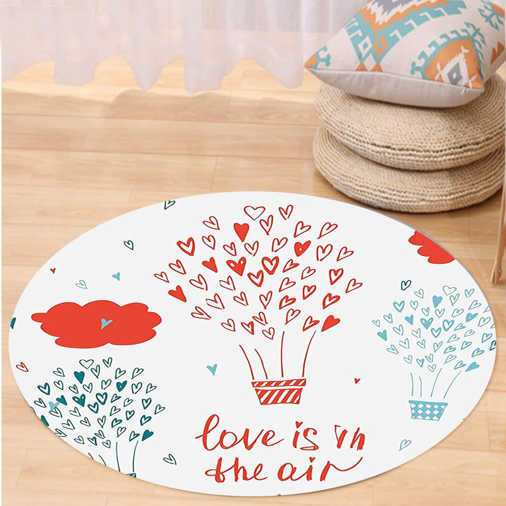 VROSELV Custom carpetValentines Day Decor Love is in the Air Quote with a Heat Balloon Hearts Flowers for Bedroom Living Room Dorm Red Blue and White Round 72 inches by VROSELV (Image #1)
