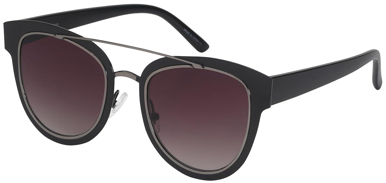 Edge I-Wear Double Brow Bar Cat Eye Flat Lens Sunglasses 25101-FLREV