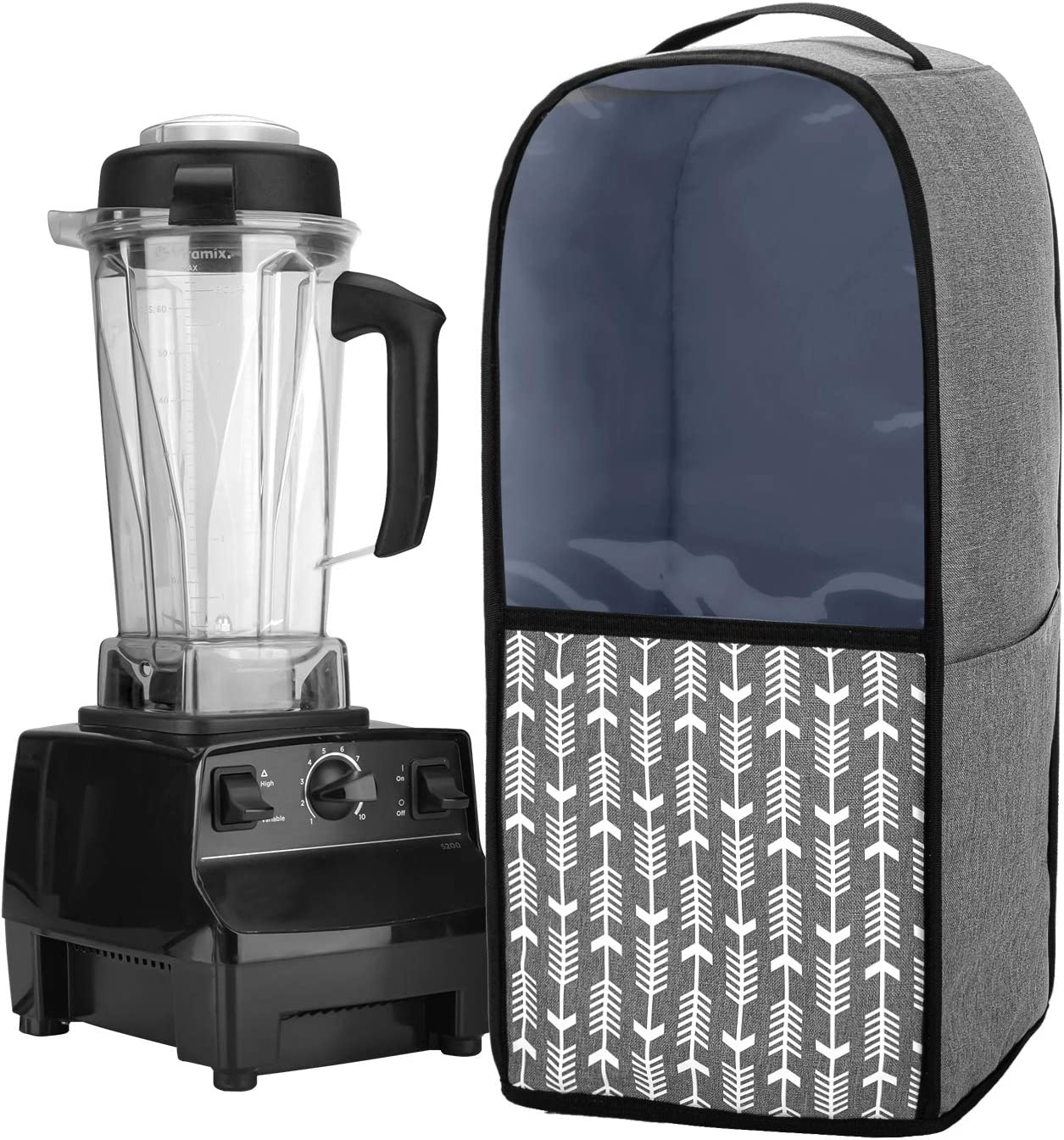 Yarwo Visible Blender Dust Cover with Pockets and Top Handle, Compatible with Vitamix Blender Classic C-Series 5200, 6300, PRO 500, Gray with Arrow (COVER ONLY)