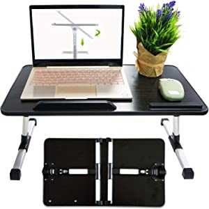 Bed Desk for Laptop, Adjustable Bed Table Tray Computer Desk, Portable Laptop Stand with Height and Angle Adjustable for Eating, Working, Writing, Gaming, Drawing (11.8IN X 20.4IN) (Black)