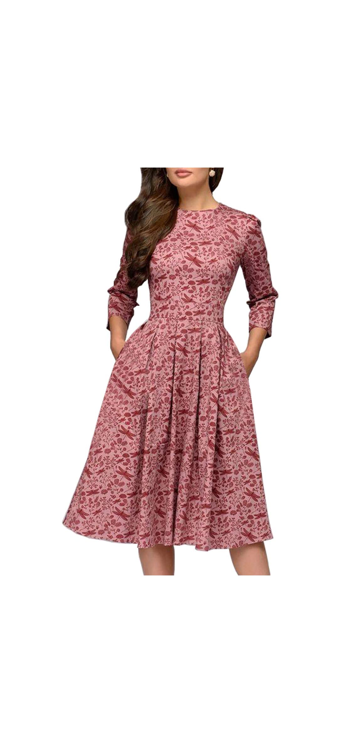 Women's Floral Evening Flare Vintage Midi Dress