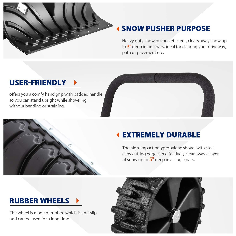 Arado de nieve resistente, empujador de nieve con ruedas, arado de pala ajustable, adecuado para limpieza de pavimento de la calzada (negro, ...
