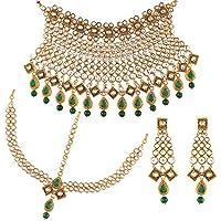 Aheli Traditional Faux Kundan Choker Necklace Dangle Earrings Matha Patti Headpiece Indian Wedding Fashion Jewelry for…
