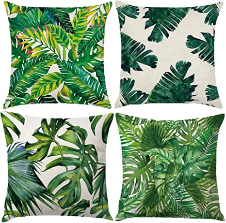 Amazon Com 4pack Tropical Leaves Series Throw Pillow Cover Green Palm Leaf Print Modern Cushion Cover Cotton Linen Square Home Decorative Pillow Case For Car Sofa Bed Couch 18 X 18 Inch Green