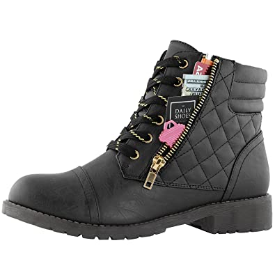771a1e6943f DailyShoes Women's Military Combat Boots Quilted Hiking Lace Up Buckle  Ankle High Exclusive Credit Card Pocket
