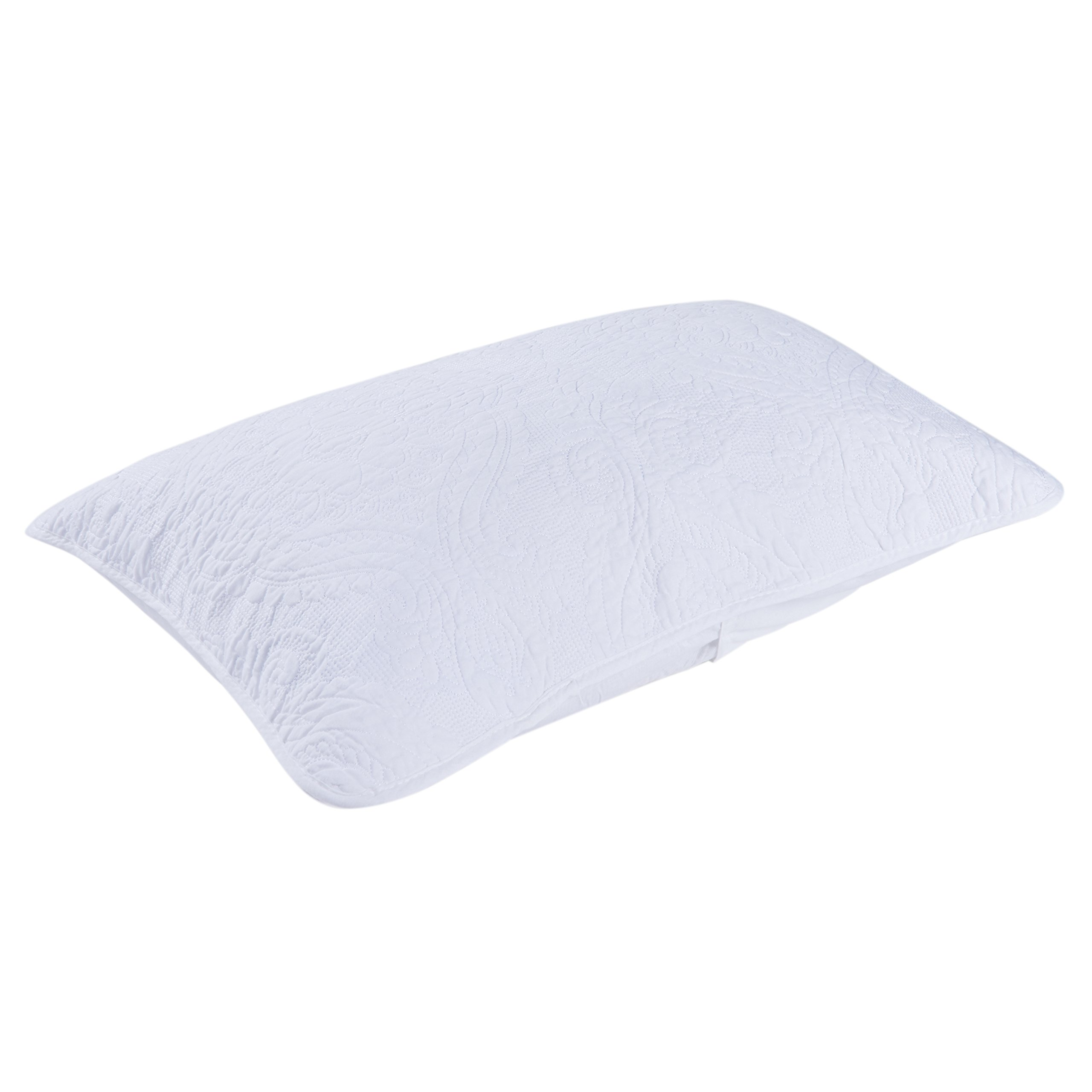 Moldiy White Damascus Floral Pattern Cotton 3 Pcs Quilt Sets,Quilt and Pillow Shams,King