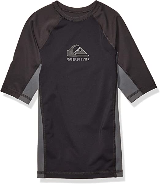 QUIKSILVER Boys Little Kona Short Sleeve Youth Rashgaurd UPF 50 Sun Protection
