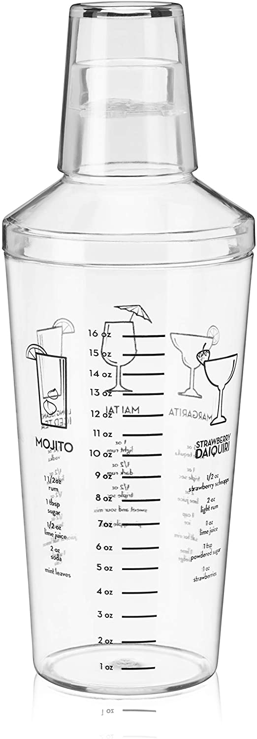 True Maraca Plastic Recipe Shaker for Cocktails with Ounce Measurements, Built-in Strainer, 16 oz, Clear