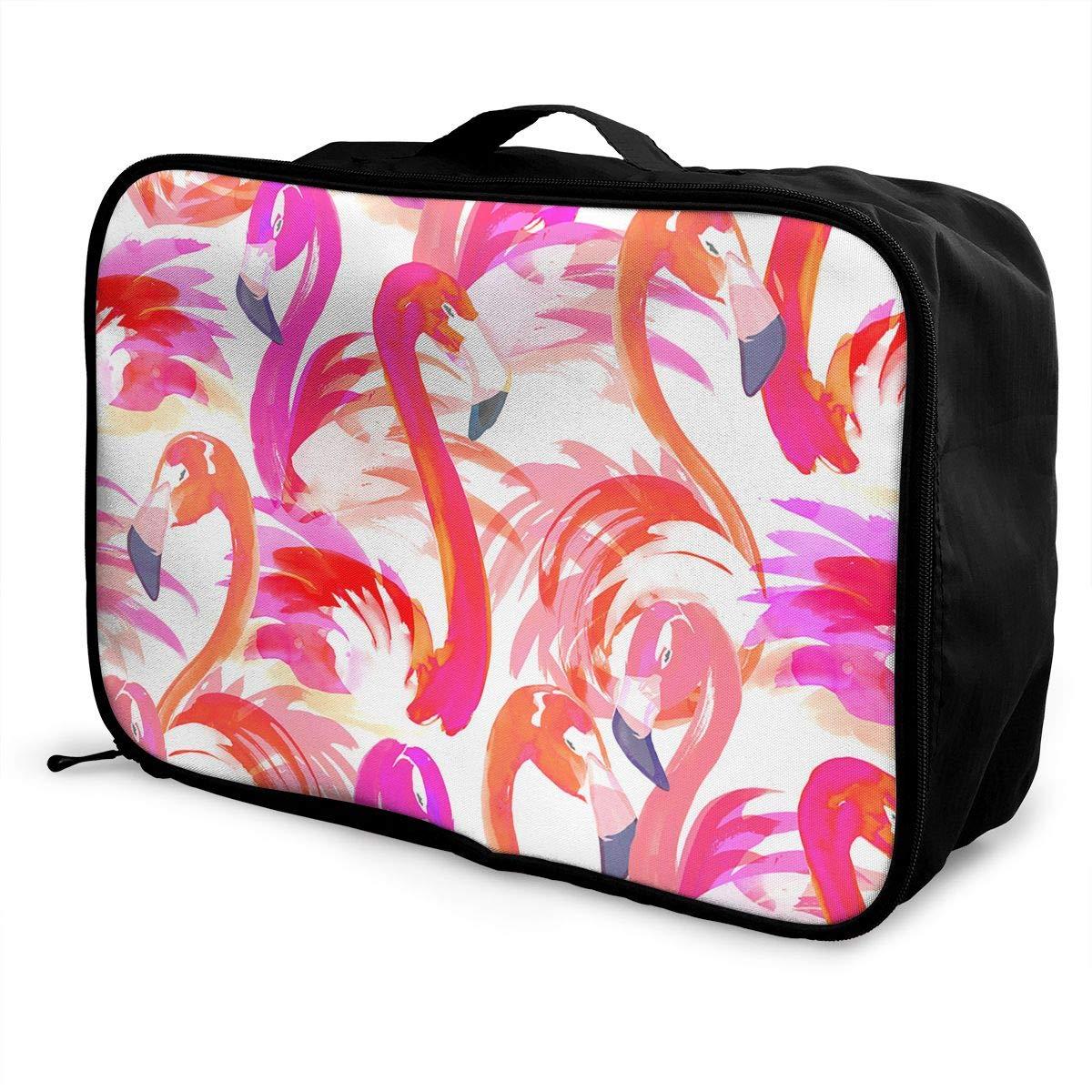 Travel Luggage Duffle Bag Lightweight Portable Handbag Watercolor Flamingo Print Large Capacity Waterproof Foldable Storage Tote