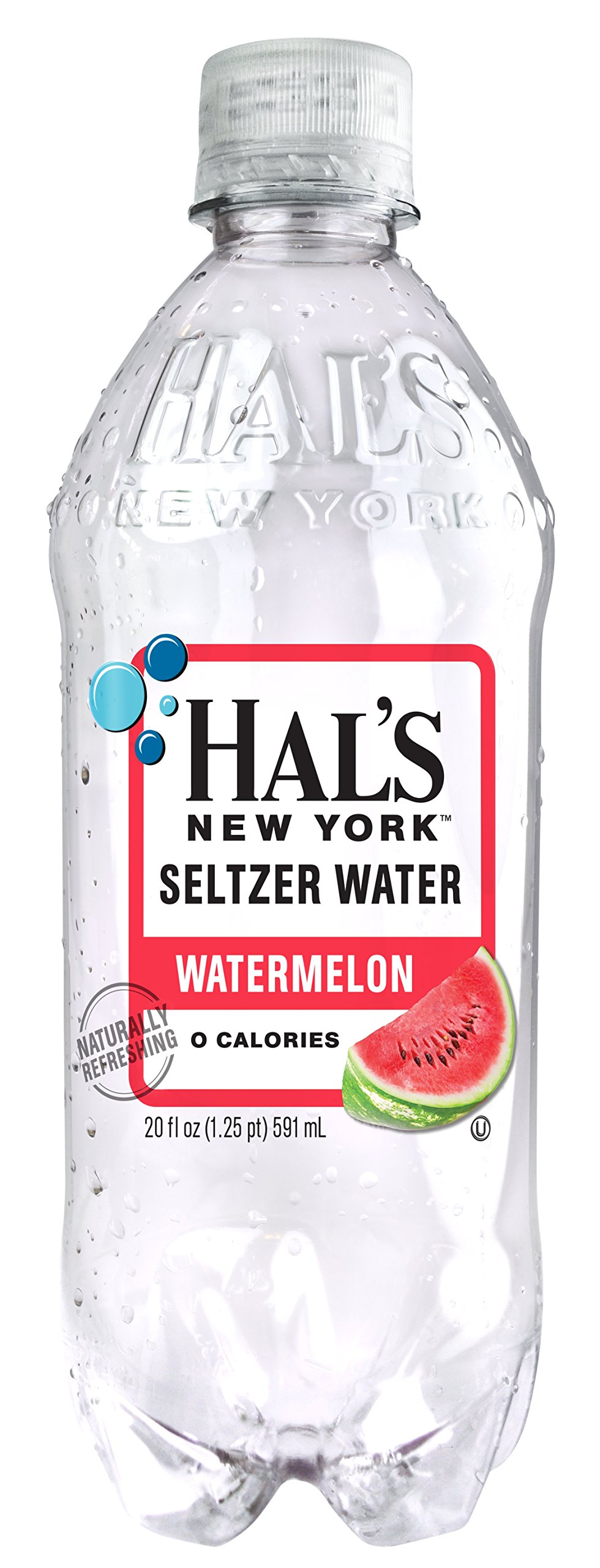 Hal's NY Seltzer Water 20 Oz Bottles (Pack of 24) (Watermelon) by Hal's New York