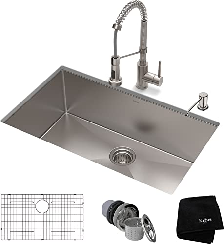 KRAUS KHU100-30-1610-53SS Set with Standart PRO Stainless Steel Sink and Bolden Commercial Pull Faucet Kitchen Sink Faucet Combo, 30 inch