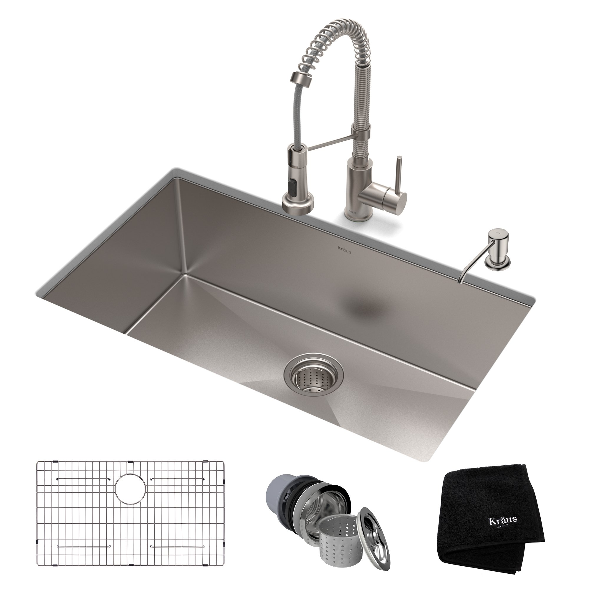 KRAUS KHU100-30-1610-53SS Set with Standart PRO Sink and Bolden Commercial Pull Faucet in Stainless Steel Kitchen Sink & Faucet Combo, 30 inch,
