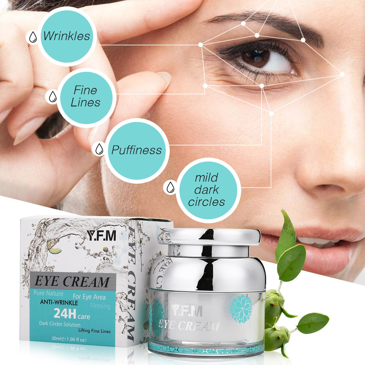 Eye Cream for Women & Men Y.F.M - Dark Circles Puffiness Wrinkles and Bags Anti-Oxidation The Most Effective For Every Eye Concern Hydrolyzed Collagen