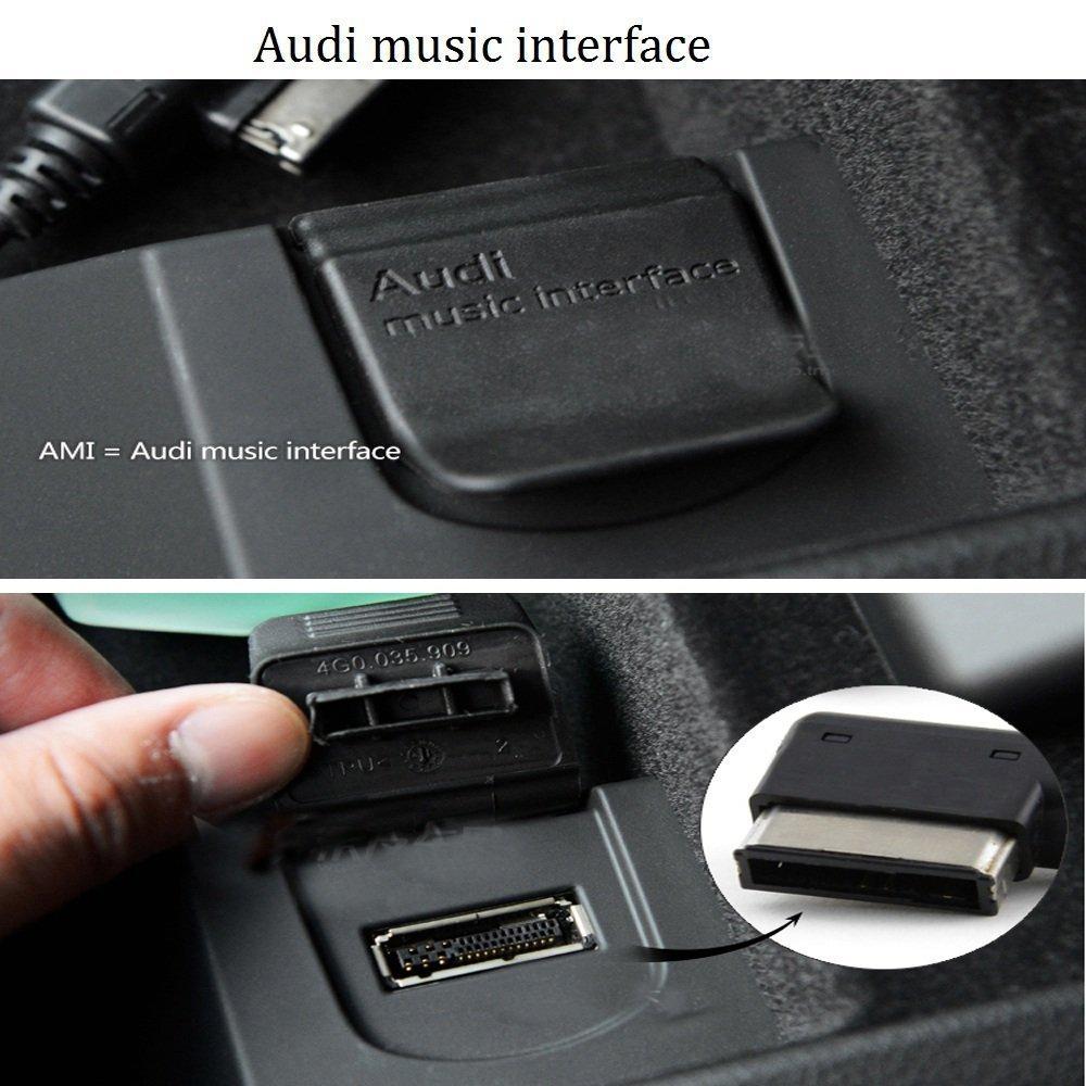 Aux-Ladeadapter 7 Plus kompatibel f/ür iPXs 1 m, schwarz Max XR X 8 Shine AMI MDI Musik-Interface XS 7 6S und 3,5 mm Audioger/ät auf Android Samsung Galaxy f/ür Audi Volkswagen VW