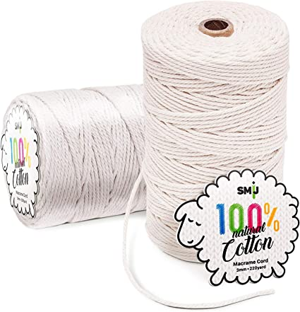 Ice cream cotton cord Macrame cord 3mm Crochet rope Crochet bag supplies Textile cord Craft supplies Fabric yarn Knitting yarn Jersey yarn