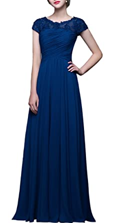 3dfc3f9062a1 Crystal Cap Sleeves Chffion Mother Of The Bride Dresses Long Navy Blue US0