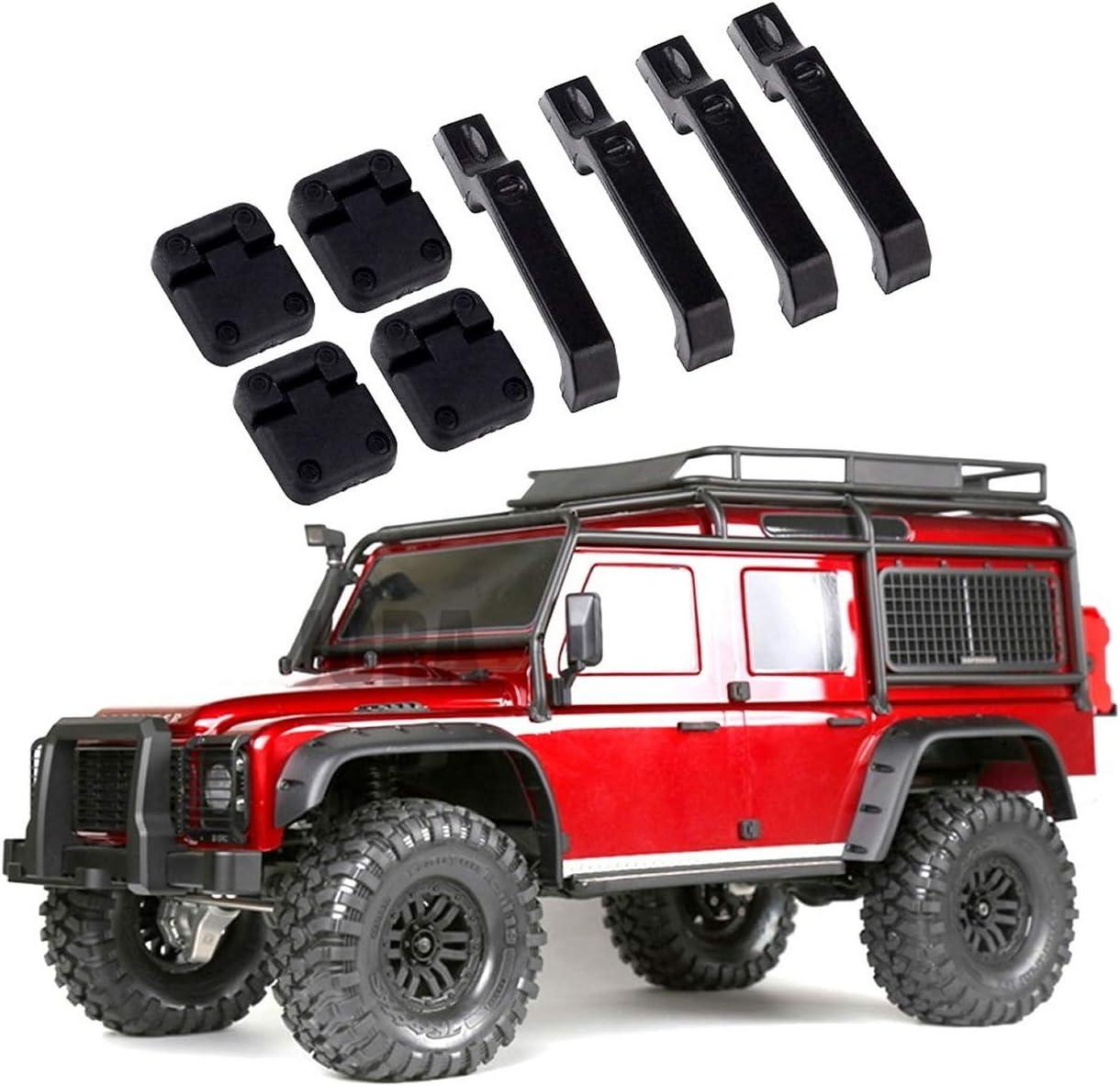 ARUNDEL SERVICES EU TRX4 1 Juego de bisagras y manijas de Puerta de Coche de plástico Negro para 1/10 RC Crawler Traxxas TRX-4 TRX4