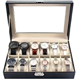 MelodySusie Watch Box Storage Organizer - Display Case with Glass Top Black Bi-cast Leather(12 slots)