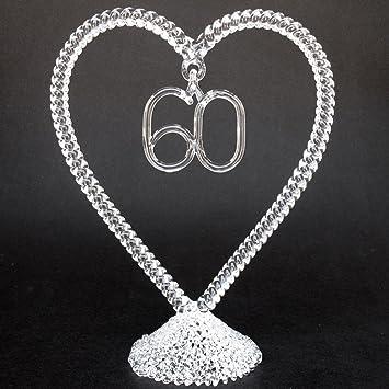 Amazon.com: 60th Anniversary Wedding Cake Topper Hand Blown Glass ...