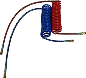 "COILED AIR SET LINE ASSEMBLY RED & BLUE TRUCK TRAILER BRAKE COIL SET, 15' LENGTH; 1 X 12"" & 1 X 40"" LEADS"