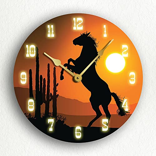 Horse at Sunset Western Themed 12 Silent Wall Clock