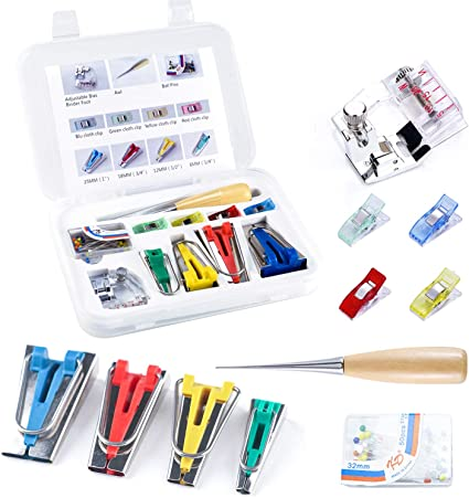 12-in 1 Fabric Bias Sewing Bias Tape Maker Tool Set of 4 Sizes DIY Quilting Craft Tool for Quilt Binding Single//Double Sewing Bias Tape Maker Set Bias Tape Maker Tool Kit