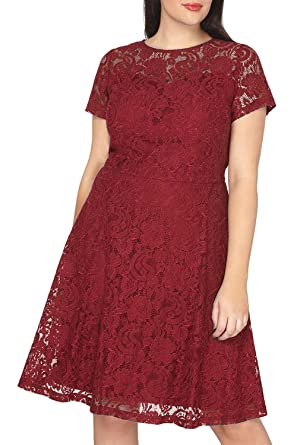 Nemidor Womens Lace Overlay Midi Length Plus Size Bridesmaid Dress