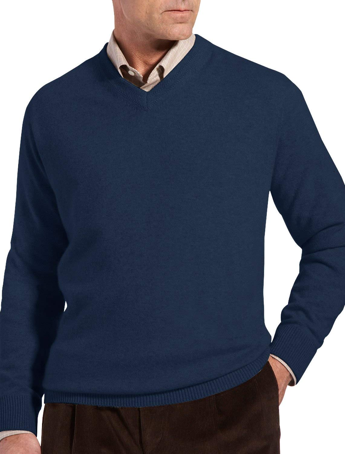 Rochester by DXL Big and Tall Cashmere V-Neck Sweater (3XL, Navy)