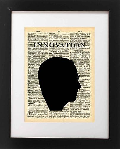 Amazon.com: Steve Jobs Art - Innovation Silhouette - Vintage ...
