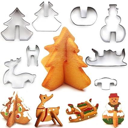 Juego de cortador de galleta de Navidad, 8 piezas de acero inoxidable 3D moldes de