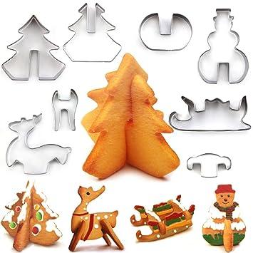 alimao 3d juego de cortador de galletas de Navidad, favorito vacaciones formas, ciervos, muñeco de nieve, árbol de Navidad y trineo: Amazon.es: Hogar