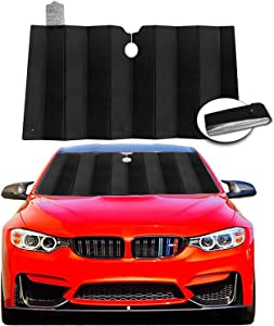 """Windshield Sun Shade Visor, Foldable Car Sunshade Reflect and Protect Your Vehicle from UV Rays Sun and Heat, Fits for Cars Trucks SUV (Size 59"""" x 31.4"""")"""